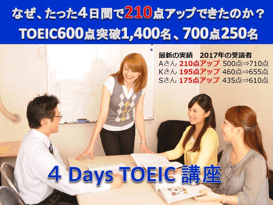 TOEIC600点突破 4日間「4 Days TOEIC対策講座」名古屋栄 短期集中コース