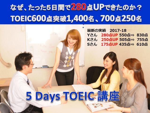 埼玉「TOEIC短期集中5日間講座」600点突破目標「5 Days TOEIC」