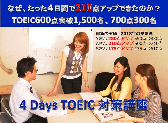 大阪TOEIC短期4日間集中講座「4 Days TOEIC対策講座」600点突破目標